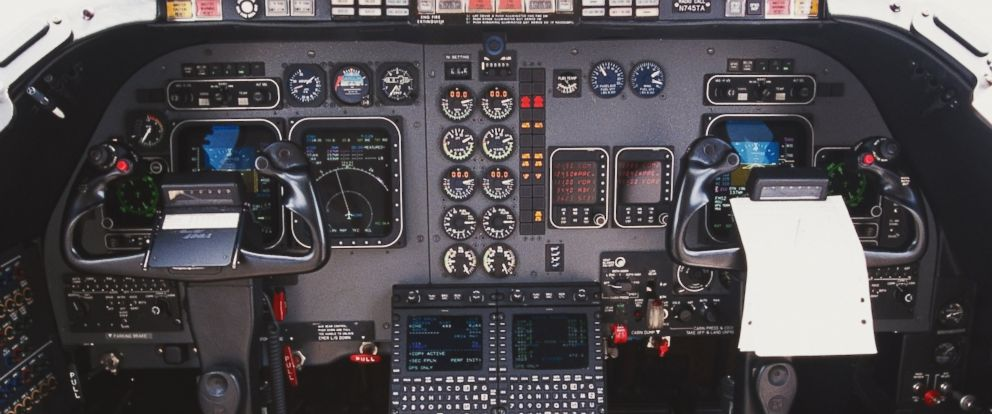 PHOTO: A view of the interior of a cockpit.