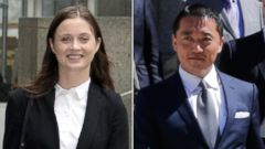 PHOTO: Hanna Bouveng arrives at Manhattan Federal Court in New York on June 16, 2015 and Benjamin Wey leaves Manhattan Federal Court, June 24, 2015.