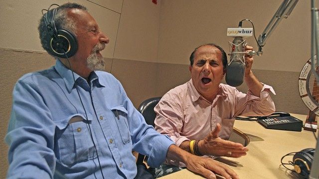 PHOTO: Tom and Ray Magliozzi of Car Talk fame are photographed at WBUR offices after their taped show.