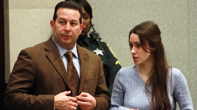 PHOTO: Casey Anthony stands with her attorney Jose Baez during her sentencing hearing at the Orange County Courthouse July 7, 2011 in Orlando, Florida.