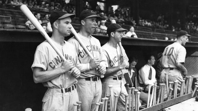 PHOTO: An early portrait of the Cincinnati Reds outfield standing in the dugout, Crosley Field, Cincinnati, 1939.