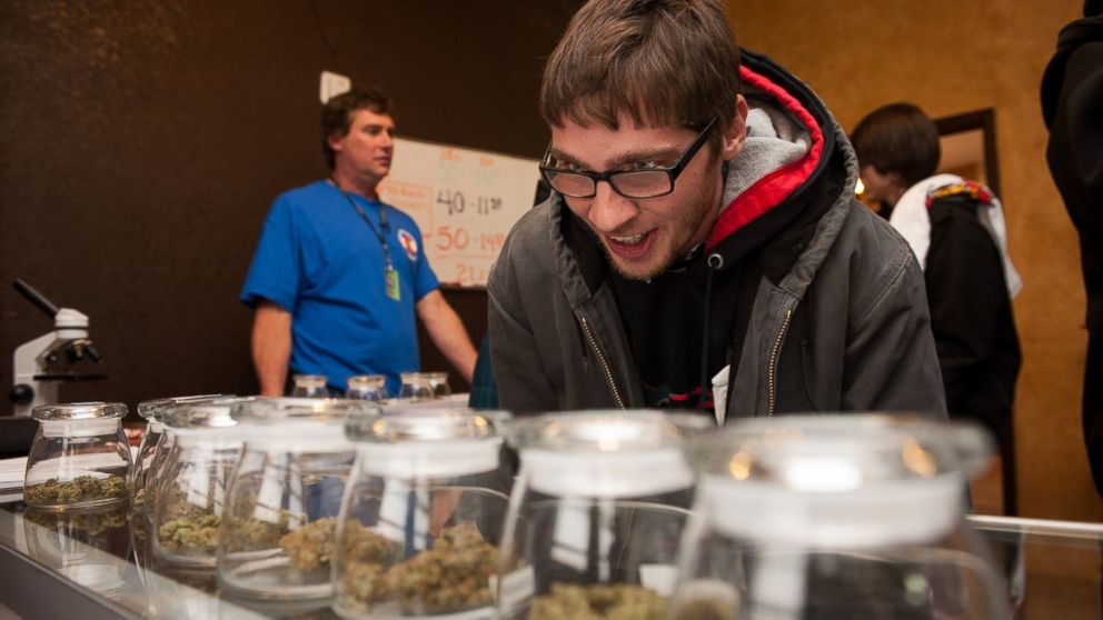 PHOTO: Tyler Williams of Blanchester, Ohio selects marijuana