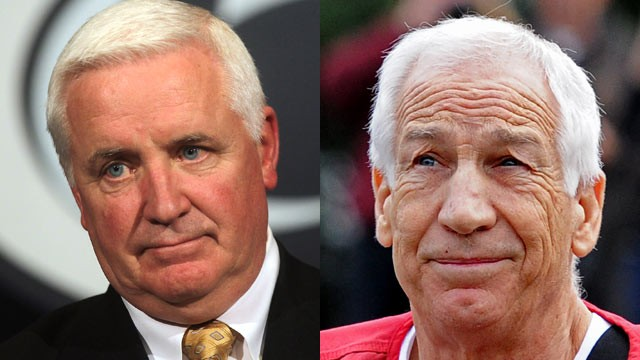 PHOTO: Pennsylvania Governor Tom Corbett's (left) handling of Jerry Sandusky's criminal case is under investigation.
