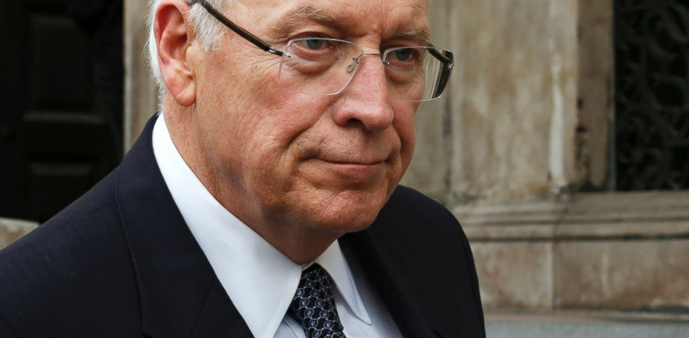 PHOTO: Former U.S. vice-president Dick Cheney is seen in this April 17, 2013 file photo leaving the funeral service of former British prime minister Margaret Thatcher at St Pauls Cathedral in London.