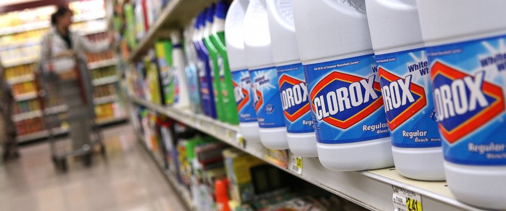 PHOTO: Bottles of Clorox bleach sit on a shelf at a grocery store on Feb. 11, 2011 in San Francisco, Calif.