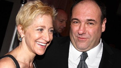 "PHOTO: Edie Falco, left, and James Gandolfini attend the after party for the Broadway opening of ""God of Carnage"" at espace, March 22, 2009 in New York City."