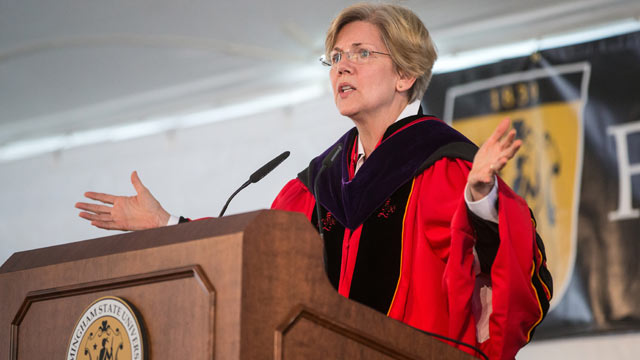PHOTO: Senator Elizabeth Warren spoke at Framingham State University's commencement ceremony on May 19, 2013.