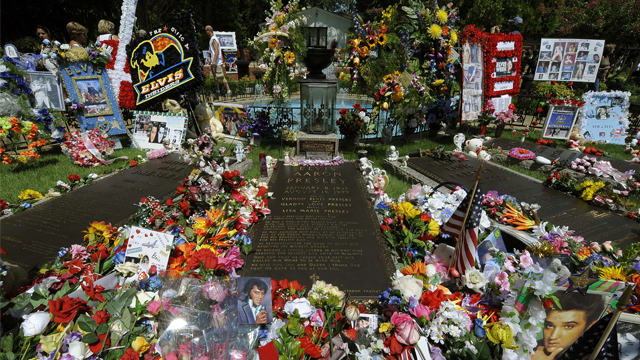 PHOTO: Gifts left by thousands of Elvis Presley fans left on his grave August 16, 2010 at Graceland Mansion, his residence in Memphis.