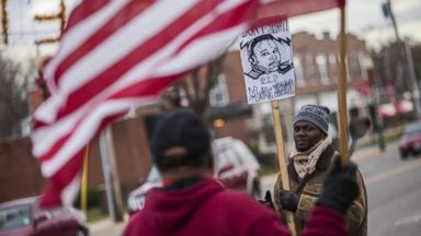 PHOTO: A few protestors begin to assemble outside the Police Department in Ferguson in anticipation of the announcement of the Grand Jury decision in the shooting death of Michael Brown by police Officer Daren Wilson in Ferguson, Missouri, Nov. 24, 2014.