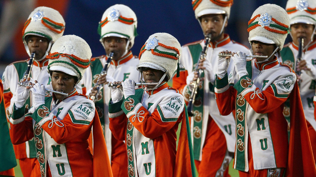 PHOTO: The Florida A&M University marching band performs on the field prior to Super Bowl XLIV between the Indianapolis Colts and the New Orleans Saints,  Sun Life Stadium, Miami Gardens, Florida, Feb. 7, 2010.