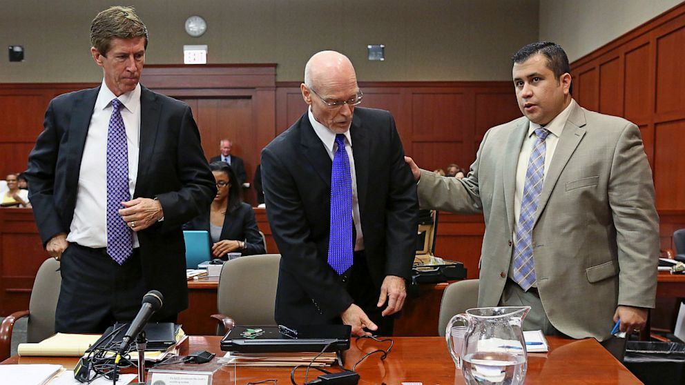 PHOTO: George Zimmerman at trial with lawyers Mark OMara and Don West