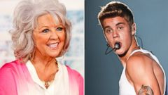 PHOTO: Paula Deen is seen in this April 25, 2013 file photo taken in Detroit, Michigan while Justin Bieber, right, is seen in this Oct. 5, 2013 file photo from Shanghai, China.