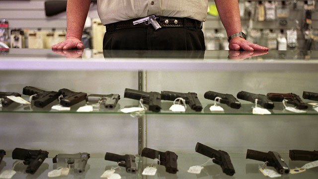 PHOTO: Guns are displayed in a gun shop in Bellevue, Washington.