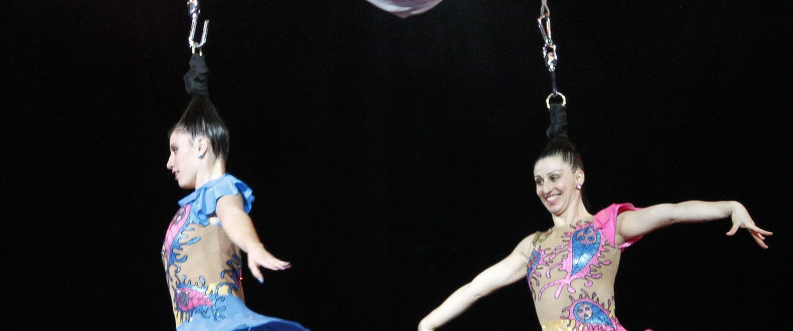 PHOTO: Performers hang only by their hair during the Ringling Bros. and Barnum & Bailey Circus performance at Cumberland County Civic Center in this Oct. 26, 2010 file photo.