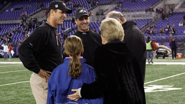 PHOTO: Head coach Jim Harbaugh, left, of the San Francisco 49ers and his brother, head coach John Harbaugh of the Baltimore Ravens, center, talk with their parents Jack and Jackie Harbaugh, and John's daughter Allison, before the start of the game between