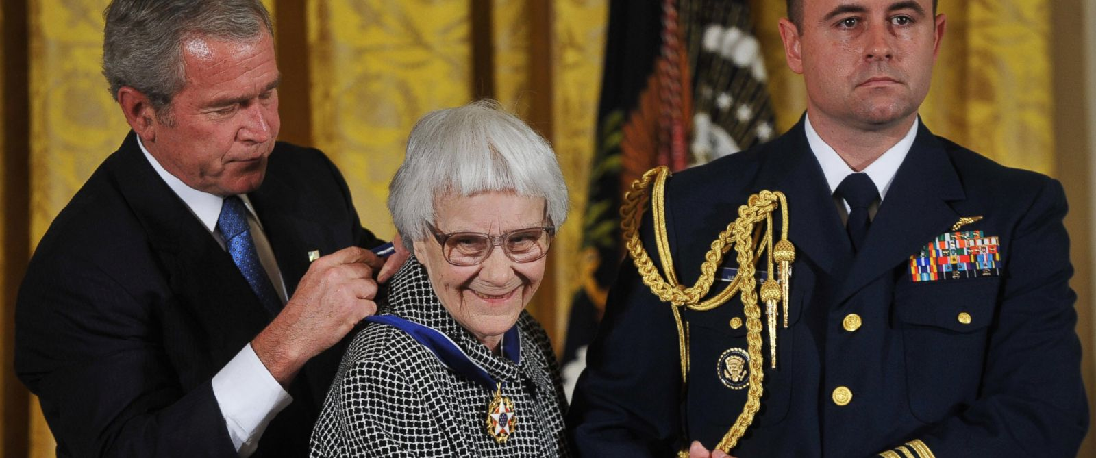 "PHOTO: President George W. Bush presents the 2007 Presidential Medal of Freedom to ""To Kill A Mockingbird"" novelist Harper Lee on Nov. 5, 2007 in the East Room the White House in Washington, D.C."