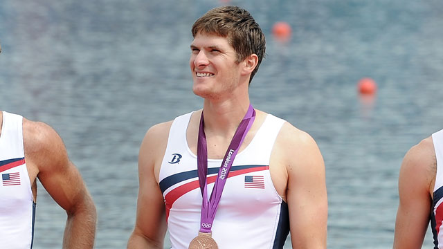 PHOTO:Henrik Rummel of the United States rowing team is awarded a bronze medal at the 2012 Olympic Games on August 4, 2012 in Windsor, England.