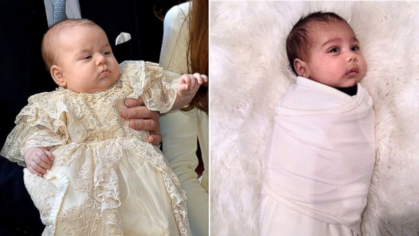 PHOTO: Prince George is seen in his christening costume in this Oct. 23, 2013 file photo, while North West is seen in this photo posted to Instagram by Kim Kardashian.