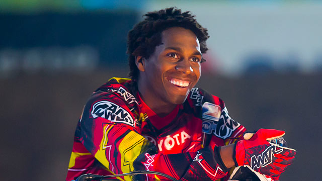PHOTO: James Stewart smiles prior to the Monster Energy AMA Supercross race at Reliant Stadium, March 31, 2012 in Houston, Texas.