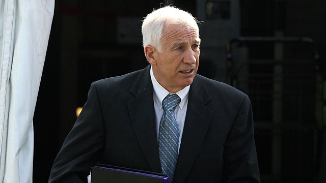 PHOTO: Former Penn State assistant football coach Jerry Sandusky leaves the Center County Courthouse, June 19, 2012 in Bellefonte, Pennsylvania.