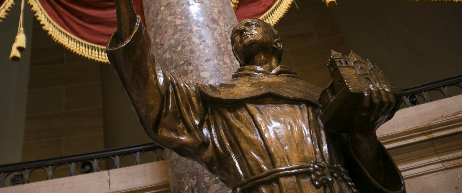 PHOTO: The statue of Junipero Serra stands in Statuary Hall in the U.S. Capitol building in Washington on Monday, Sept. 21, 2015.
