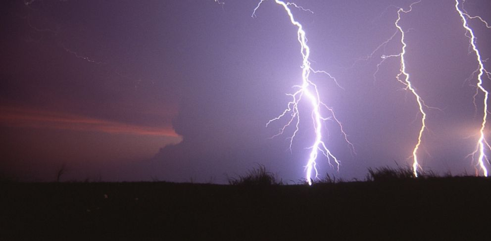 PHOTO: Lightning from a supercell thunderstorm is seen in this undated file photo.