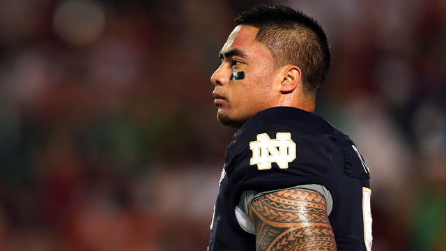 PHOTO: Manti Teo, #5 of the Notre Dame Fighting Irish warms up prior to playing against the Alabama Crimson Tide in the 2013 Discover BCS National Championship game at Sun Life Stadium, Jan. 7, 2013 in Miami Gardens, Fla.