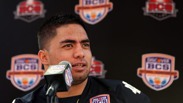 PHOTO: Manti Teo #5 of the Notre Dame Fighting Irish speaks to the media during Media Day ahead of the Discover BCS National Championship at Sun Life Stadium, January 5, 2013, in Miami Gardens, Fla.