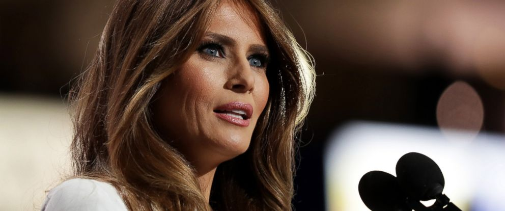PHOTO: Melania Trump, wife of Presumptive Republican presidential nominee Donald Trump, delivers a speech on the first day of the Republican National Convention on July 18, 2016 at the Quicken Loans Arena in Cleveland.