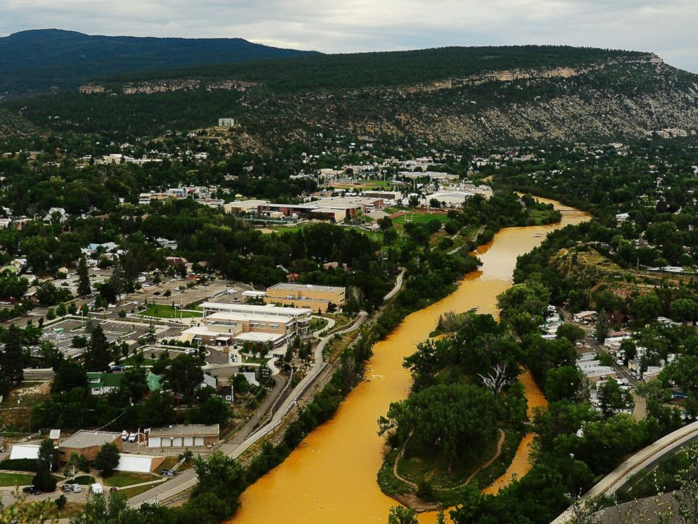 PHOTO: The Animas River flows through the center of Durango, Colo. on Aug. 7, 2015.
