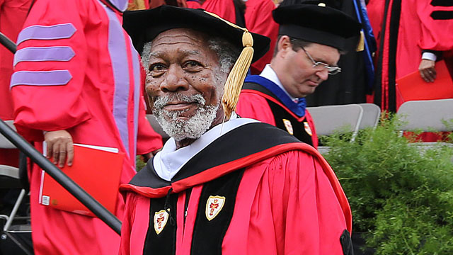 PHOTO: Morgan Freeman received a Doctor of Humane Letters honorary degree at Boston University's commencement ceremony on Nickerson Field, May 19, 2013, in Boston.