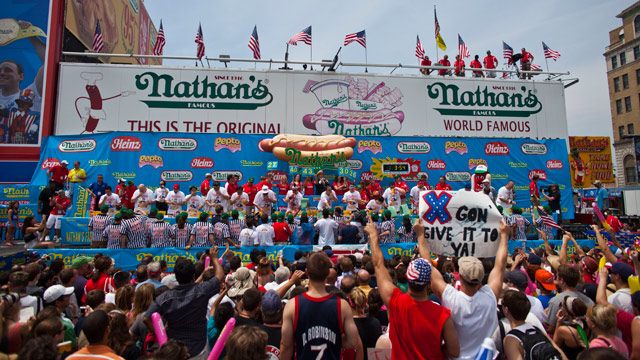 PHOTO: Competitive eaters are seen during to the 2011 Nathan's Famous Fourth of July International Hot Dog Eating Contest in Coney Island on July 4, 2011 in the Brooklyn borough of New York City.