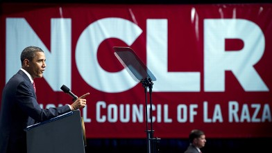 PHOTO: US President Barack Obama addresses the National Council of La Raza (NCLR) annual conference in Washington, DC, July 25, 2011.