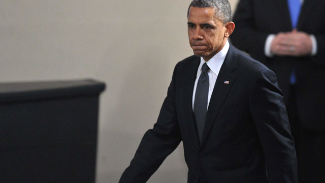 PHOTO: US President Barack Obama arrives at a memorial service for the victims of the Sandy Hook Elementary School shooting on December 16, 2012 in Newtown, Connecticut.