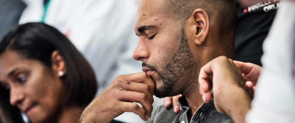 PHOTO: Angel Colon, a survivor of the Pulse nightclub mass shooting, listens during a press conference with Orlando Health trauma staff at Orlando Regional Medical Center, June 14, 2016 in Orlando, Florida.