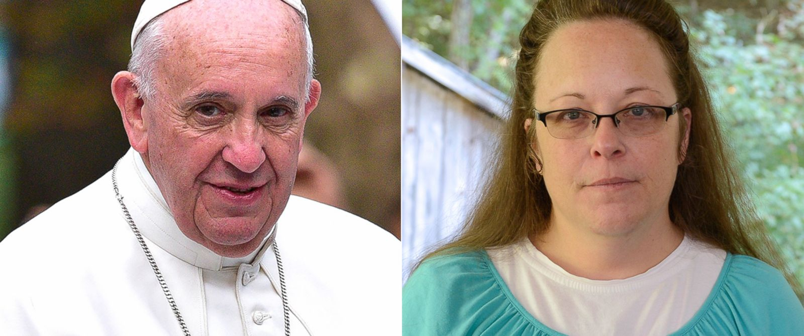 PHOTO: Pictured from left, Pope Francis and Kim Davis.