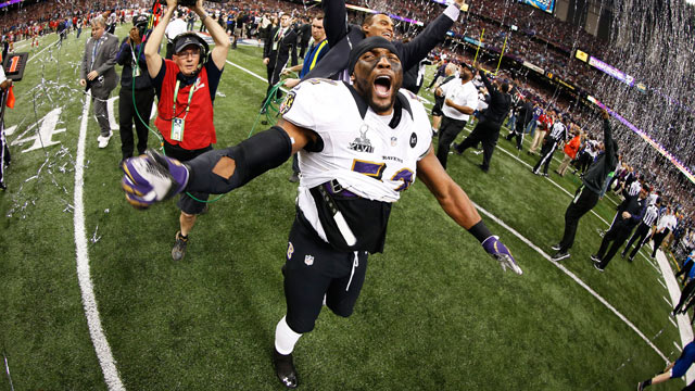 PHOTO: Ray Lewis #52 of the Baltimore Ravens celebrates after defeating the San Francisco 49ers during Super Bowl XLVII at the Mercedes-Benz Superdome on February