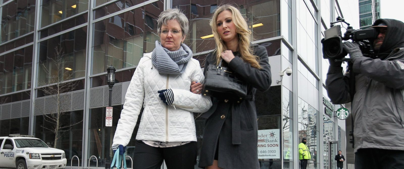 PHOTO:Boston Marathon bombing victim Rebekah Gregory, right, arrived at Moakley Federal Courthouse in Boston, where the second day in the trial of Dzhokhar Tsarnaev got underway on March 5, 2015.