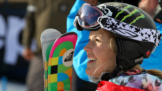 PHOTO: Sarah Burke of Canada celebrates after winning the Ski Superpipe women final at the European Winter X-Games, March 18,