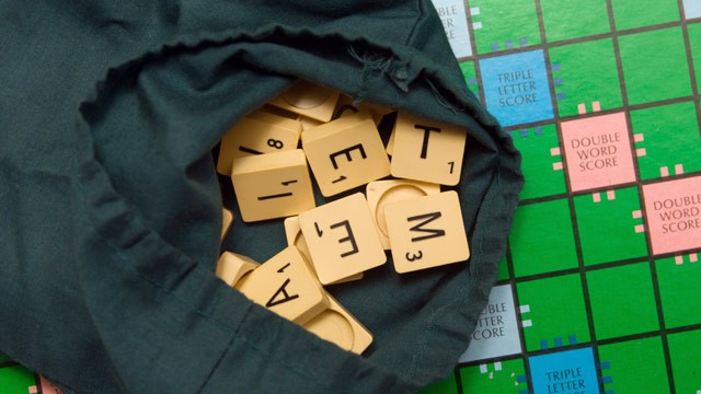 PHOTO: Scrabble board and tiles