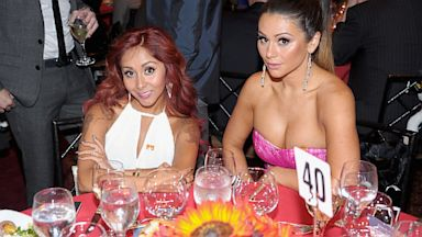PHOTO: Television personalities Nicole Snooki Polizzi (L) and Jenni JWoww Farley attend TrevorLIVE New York at Pier Sixty at Chelsea Piers on June 17, 2013 in New York City.