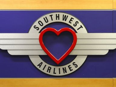 PHOTO: The Southwest Airlines logo on the wall behind ticketing agents, Sept. 28. 201.