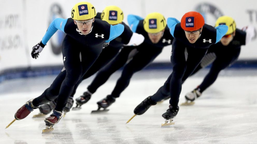 PHOTO: Th mens 1,000 meter final during the U.S. Olympic Short Track Trials at the Utah Olympic Oval on January 5, 2014 in Salt Lake City, Utah.