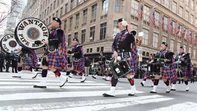 PHOTO: Members of the Wantagh Pipe Band march up Fifth Avenue at the 251st annual St. Patrick's Day parade on March 17, 2012 in New York.