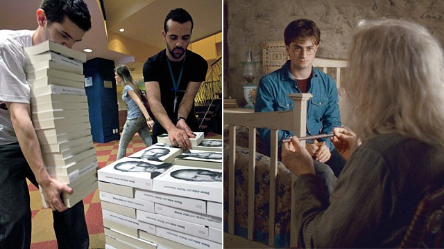 "PHOTO: Bookshop employees pile up copies of a biography of the late ""Apple"" co-founder Steve Jobs, left, and Harry Potter, Ollivander in Warner Bros. Pictures' ""HARRY POTTER AND THE DEATHLY HALLOWS- Part 2."""