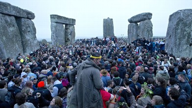 PHOTO: Revelllers celebrate the pagan festival of 'Summer Solstice' at Stonehenge in Wiltshire in southern England, June 21, 2013.