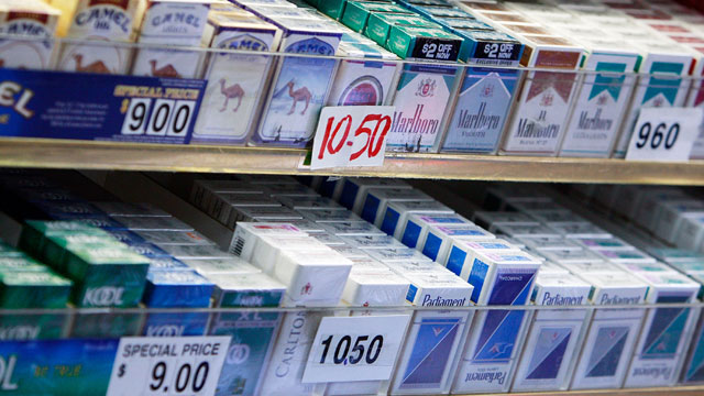 PHOTO: Cigarette packs are on display for sale in a shop April 1, 2009 in New York City.