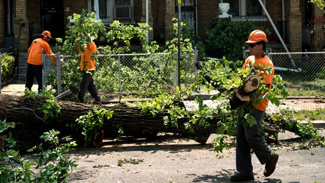 PHOTO: A crew clears a fallen tree from row homes, July 1, 2012 in Washington, DC.