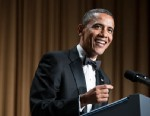 PHOTO: US President Barack Obama speaks during the White House Correspondents? Association Dinner April 27, 2013 in Washington, DC.