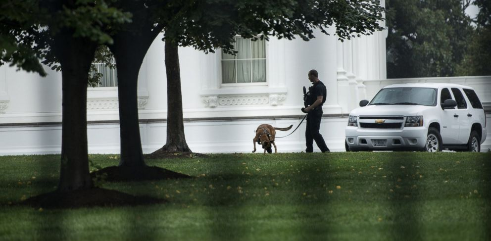 PHOTO: A Secret Service officer is seen with an attack dog outside the White House on Sept. 25, 2014 in Washington, DC.